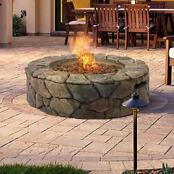 Patio Fire Pit Outdoor Fireplace Stone Design Propane Gas Firepit Heater Flame