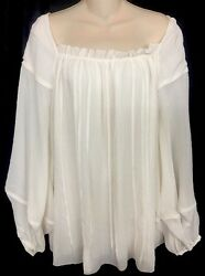 Zac Posen Top Milk White Silk Blouson Full Sleeve Square Neck Size 10