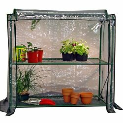 2 Tier Greenhouse Portable Mini Walk Outdoor Potting Station With Thermal Cover