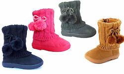 New Kids Boots Toddler Girls Pom Pom Faux Fur Suede Knitting Shoes 268 $8.88