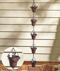 Iron Rain Chain Birds Decor Porch Patio Deck Gutter DownSpout Bucket Catcher
