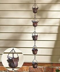 Iron Rain Chain Dragonfly Decor Porch Patio Deck Gutter DownSpout Bucket Catcher