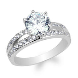 Ladies 925 Sterling Silver Round CZ Cross Engagement Solitaire Ring Size 4-10