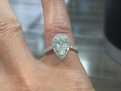 2.10ct Natural Pear Halo Pave Diamond Engagement Ring - GIA Certified