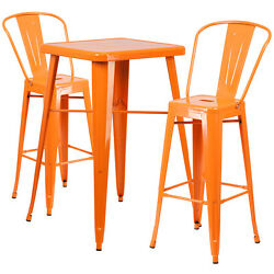 Lot of 8 Orange Home Metal Indoor-Outdoor Bar Table Set with 2 Barstools