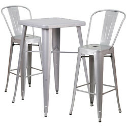 Lot of 8 Silver Home Metal Indoor-Outdoor Bar Table Set with 2 Barstools