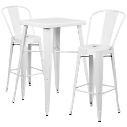 Lot of 8 White Home Metal Indoor-Outdoor Bar Table Set with 2 Barstools