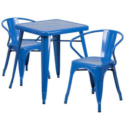 Lot of 8 Blue Home Restaurant Metal Indoor-Outdoor Table Set with 2 Arm Chairs
