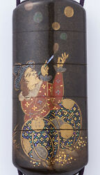 Gold Lacquer Seal Case (Makie Inro) Southern Barbarian with Manji Netsuke Japan