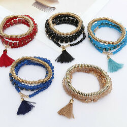 1Pcs Fashion Multilayer Beaded Tassel Elastic Charm Bracelets Jewelry for Female