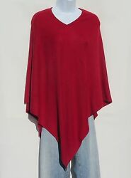 100% Cashmere Knit Poncho Tibetan Yarn Hand Loomed Solid: Darker Red 1 Size