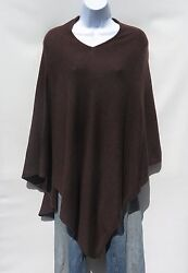 100% Cashmere Knit Poncho Tibetan Yarn Hand Loomed Solid: Dark Brown 1 Size