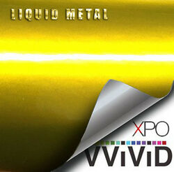 VViViD Liquid Metal Yellow vinyl car bike boat wrap Gloss film 3Mil choose size