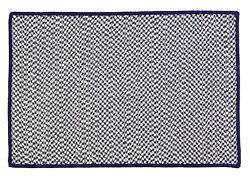 Houndstooth Tweed Indoor Outdoor Braided Rectangle Rug Navy Blue ~ Made in USA