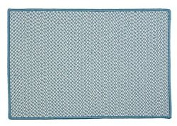 Houndstooth Tweed Indoor Outdoor Braided Rectangle Rug Sea Blue ~ Made in USA