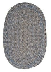 Softex Check Indoor Outdoor Oval Braided Rug Blue Ice & Tan