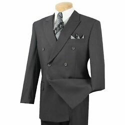 VINCI Men's Heather Gray Double Breasted 6 Button Classic Fit Suit NEW