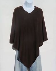 100% Cashmere Knit Poncho Tibetan Yarn Hand Loomed Solid: Darker Brown 1 Size