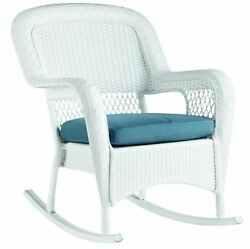 Outdoor All-Weather Wicker Patio Backyard Rocking Chair Rocker With Cushion Seat