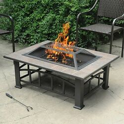 Outdoor Wood Burning Fire Pit Tile Top Backyard Patio Heater Table Rectangular