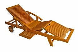 Classic Wooden Chaise Lounge With Multi Position Deck Folding Outdoor Chair