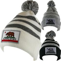 BEANIE CALIFORNIA Republic BEAR MARK Cuffed Knit Pom Winter Headwear Cap Ski