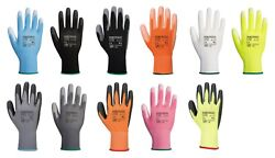 12 x Portwest A120 Colourful Nylon PU Palm Coated Work Wear Gardening Gloves GBP 8.95