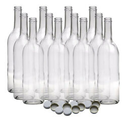 750 ml Clear Screw Cap Wine Bottles With 28 mm Metal Screw Caps For Wine Making $34.99