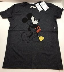 Disney Mickey Mouse Women#x27;s Regular Fit T Shirt Heather Gray XS M Vintage Tee $11.99