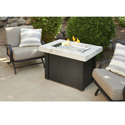 The Outdoor GreatRoom Co Providence Crystal Fire Pit Table Onyx Marbelized Top