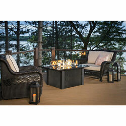 The Outdoor GreatRoom Co Grandstone Crystal Fire Pit Table w Napa Wicker Base