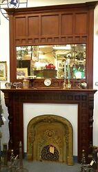 AESTHETIC 1870'S SOLID CHERRY ANTIQUE FIREPLACE MANTLE SURROUNDW MIRROR