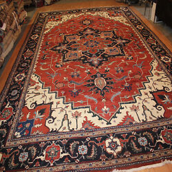 Large 14' X 19' Persian Design Hand Knotted Carpet Serapi Red Wool Rug