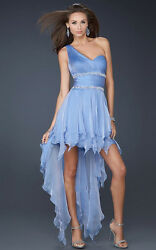 NEW LA FEMME One Shoulder High Low Cocktail Chiffon DRESS GOWN SIZE 8 PERIWINKLE $139.00