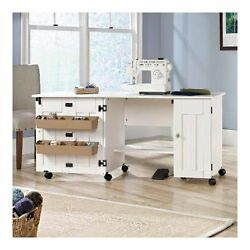 Arts & Craft Sewing Macine Table Home Folding Storage Center Rolling Cabinet
