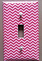 Pink Light Switch Cover Plates Chevron Zig Zag Cool Wall Waves Retro Decor $4.28