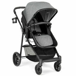 2 In 1 Foldable Baby Stroller Kids Travel Newborn Infant Buggy Pushchair Gray