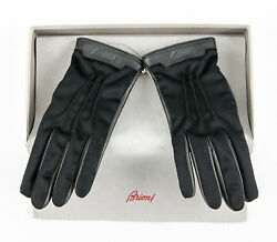 Men's BRIONI Italy Black Deerskin Leather Cashmere Lined Gloves S M 8 $695 NWT!