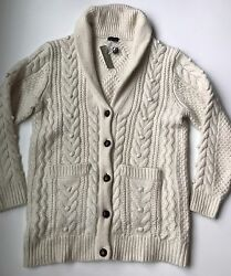 JCrew Collection Italian Cashmere-Mohair Cable Cardigan Sweater XS-S $795 RARE