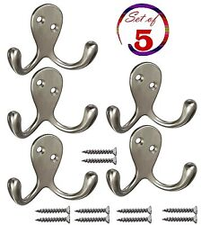 Heavy Duty Double Prong Coat and Hat Hook with Ball Tip 5 Pack Screws Wall #6NQ