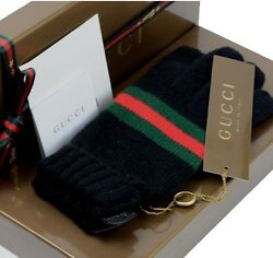 GUCCI Auth Ladies Gloves Black Red Green Leather Cashmere FS NOS Mint #0061