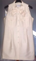 CHANEL WOMANS €5500 IVORY SILKCOTTON TUNIC DRESS  SZ.42 PRE OWNED FRANCE 🇫🇷