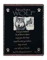 Advice From A Wolf Afghan Throw Animal And Wildlife Cabin Decor Log Home Lake