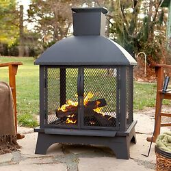 Modern Outdoor Fireplace Portable Wood Burning Fire Pit Deck Backyard Heater NWT