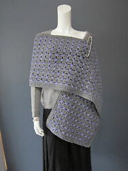 MARC JACOBS 80 % wool runway wrap  shawl NEW with TAG  grey & purple safety pin