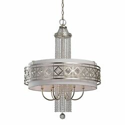 Dazzling Art Deco Silver Crystal 6 Light Drum Chandelier  Modern Chrome Glass