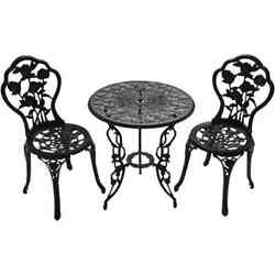 Patio Furniture Outdoor Garden Rose 3-Piece Bistro Set 1 table and 2 chairs legs