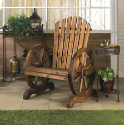 Wagon Wheel Adirondack Chair Patio Backyard Furniture Cabin Decor Log Home Lake