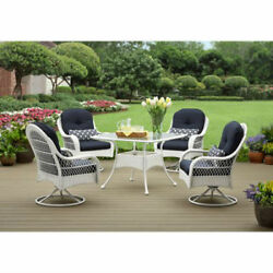 Patio Dinning Set Outdoor Furniture Swivel Chairs Pool Deck Backyard Lawn White