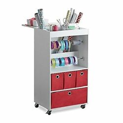 Gift Wrap Storage Organizer Cabinet Shelf Rack Rolling Cart Real Simple®